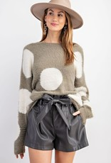 Dots Knitted Loose Fit Pullover Sweater