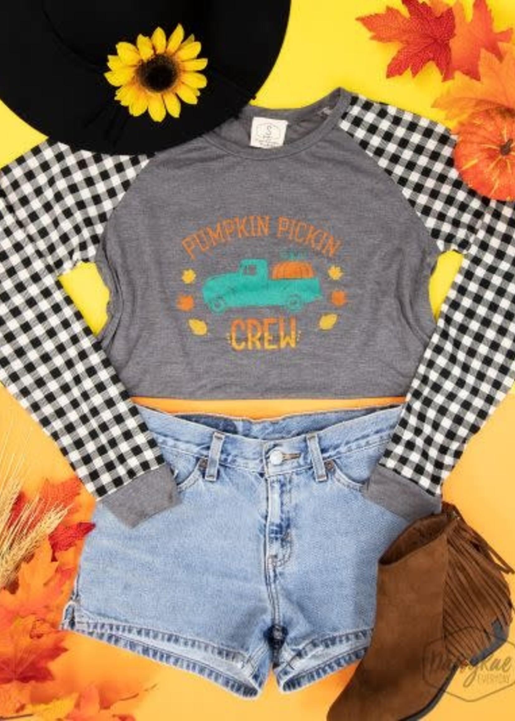 Pumpkin Pickin Crew Longsleeve Tee w/ Gingham Sleeves