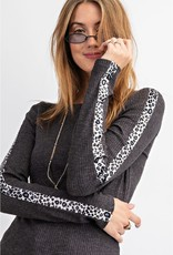 Ribbed Knit Mock Neck Light Top w/ Leopard Tape Sleeve