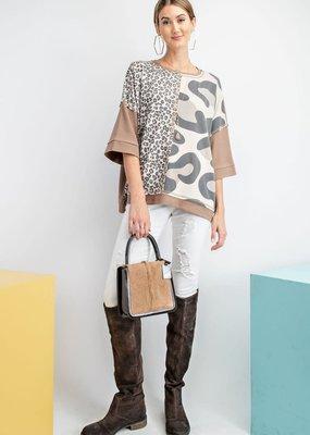 Half Sleeve Soft Thermal Box Leopard Top