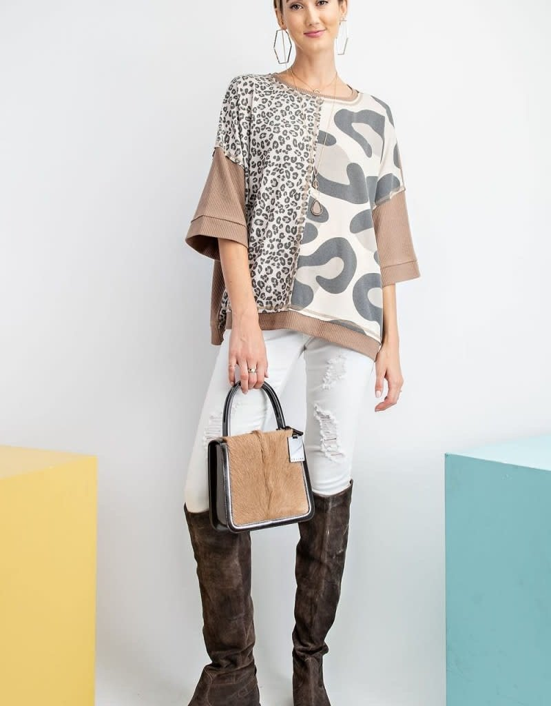 Half Sleeve Soft Thermal Box Leopard Top