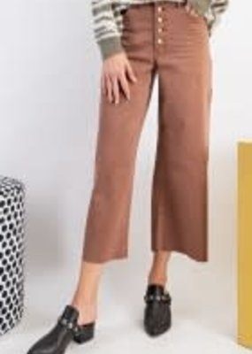 Button Front Stretch Crop Pants