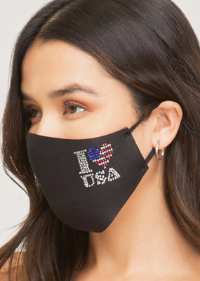 Asst USA Black Cotton Mask w/ Adjustable Earpiece
