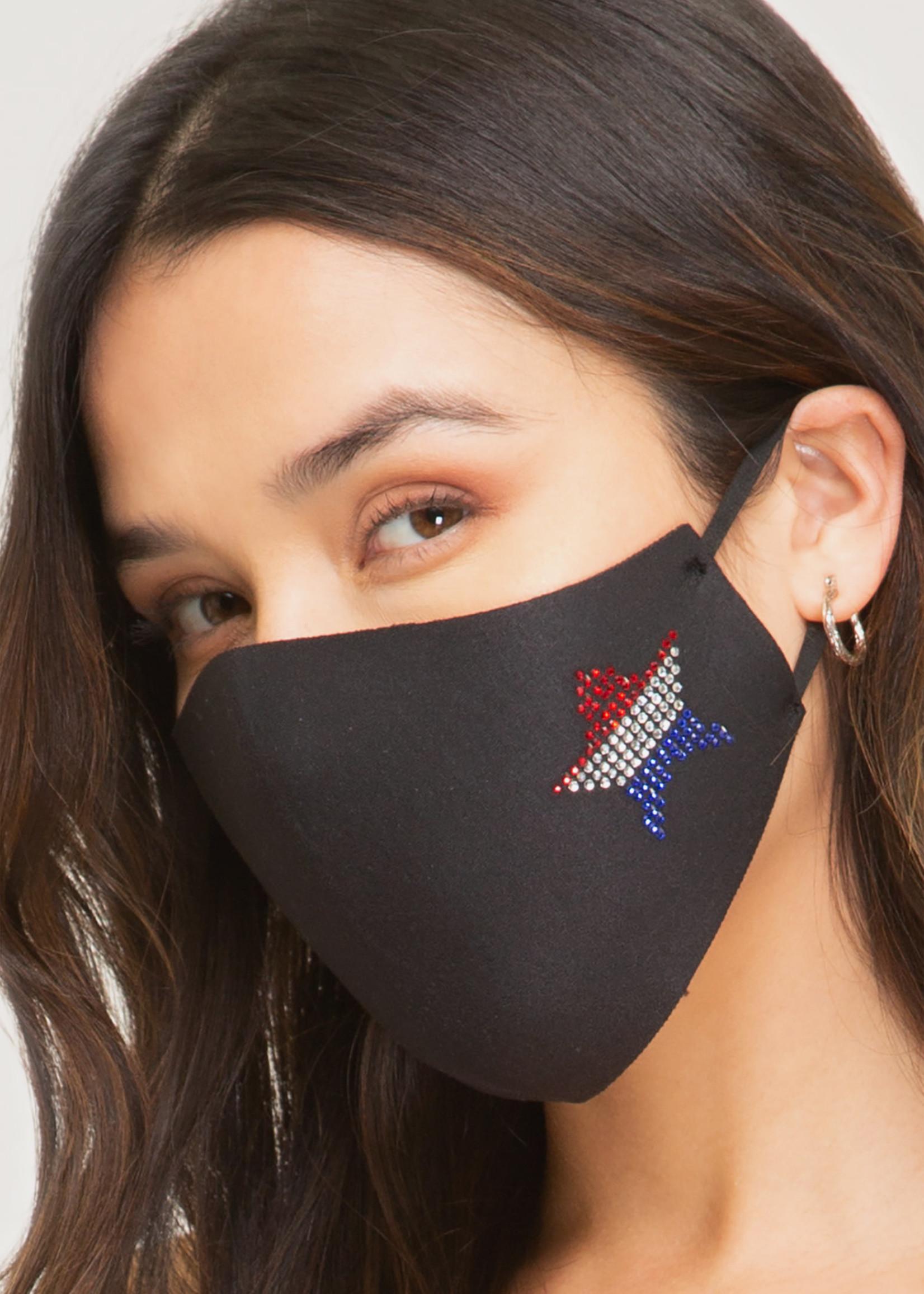 Asst USA Black Cotton Mask w/ Adjustable Earpiece
