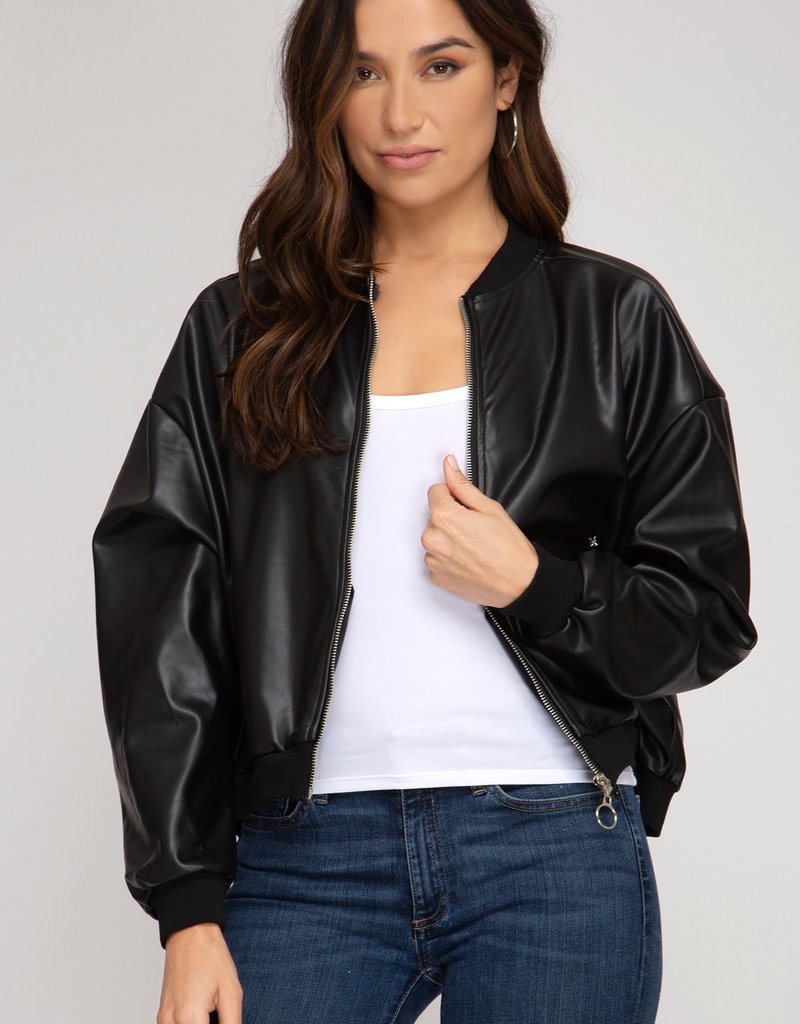 Faux Leather Zip Up Bomber Jacket w/ Pockets