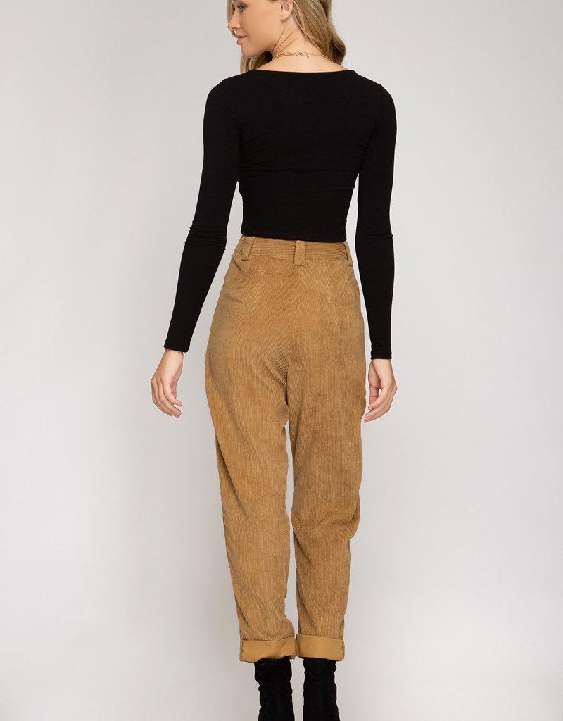 Cuffed Curduroy Pants w/ Pockets
