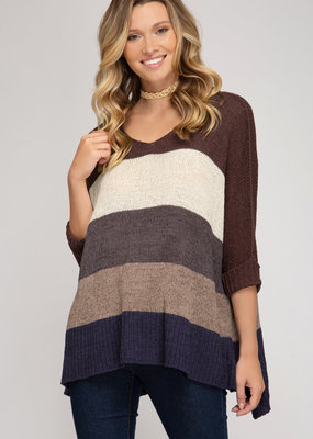 3/4 Length Sleeve Hi Low Blocked Sweater