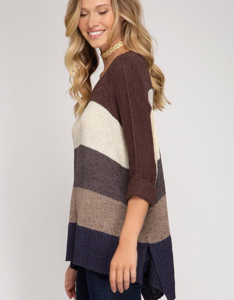 3/4 Length Sleeve Hi Low Blocked Sweater