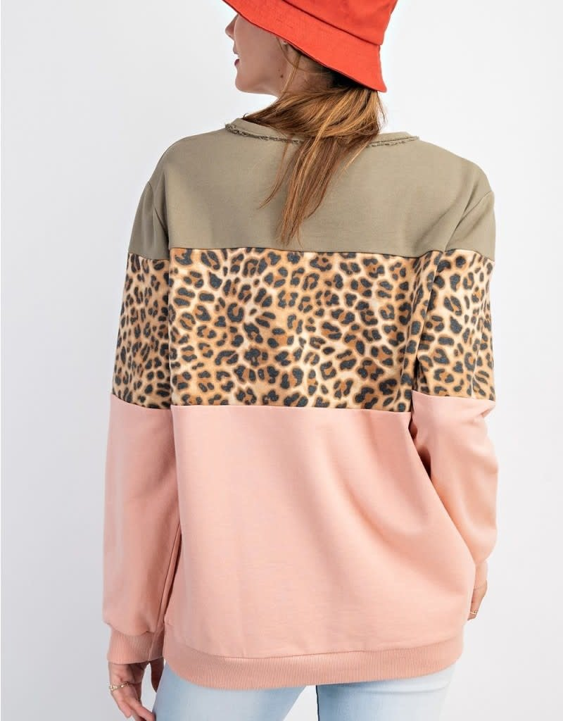 Terry Knit Color and Printed Boxy Pullover