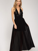 Sequins Long Woven Maxi Dress w/ Cami Top (Lined)