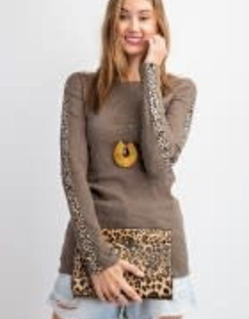 Ribbed Knit Mock Neck Light Top w/ Leopard Tape Sleeve