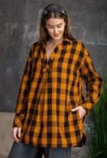 Plaid Pattern Button-Less Tunic Top