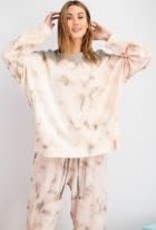 Tie Dye Washed Terry Knit Pull-Over Top