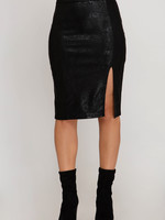 Printed Faux Suede Midi Skirt W/ Side Front Slit