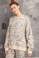 Zebra Print Terry Knit Pullover Top