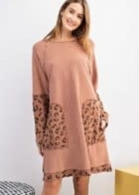 Animal Print Mix Terry Knit Dress
