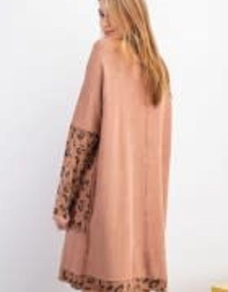 Animal Print Mix Terry Knit Dress