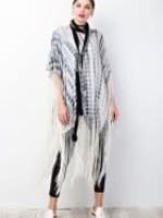Bamboo Dyed Novelty Knit Fringe Bottom Poncho