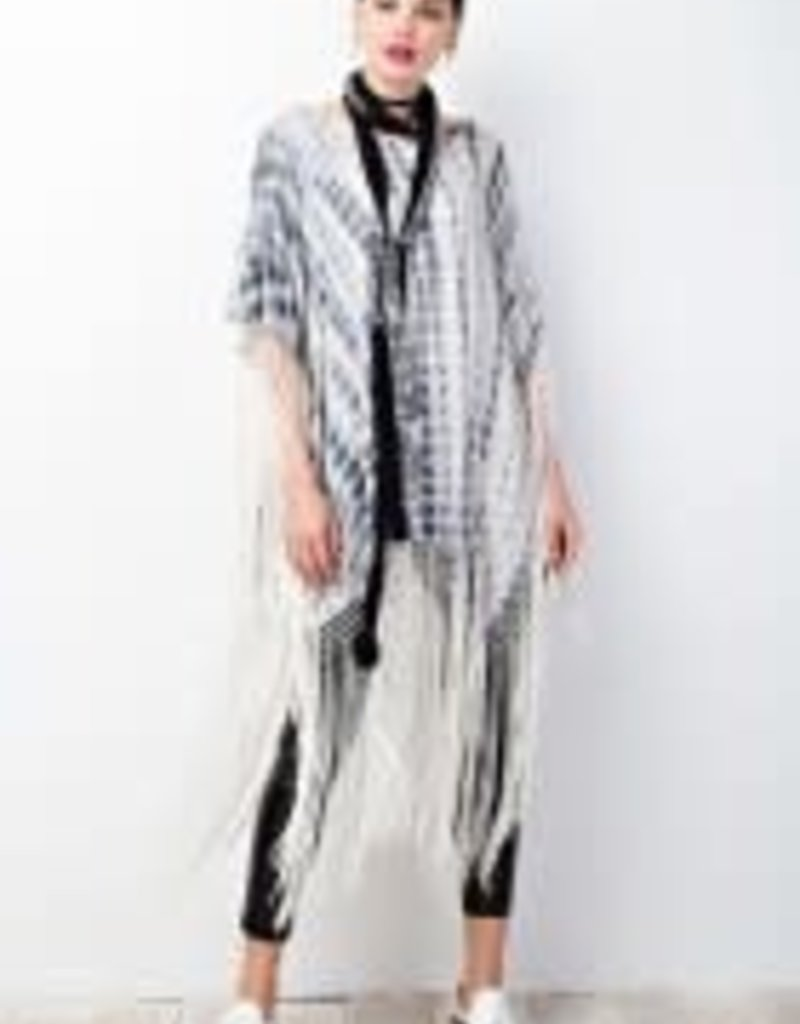 Bamboo Dyed Novelty Knit Fringe Bottom Poncho