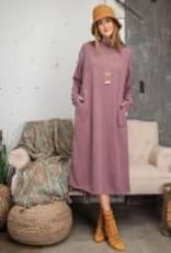 Essential Hacci Long Sleeve Maxi Dress w/ Mock Neck