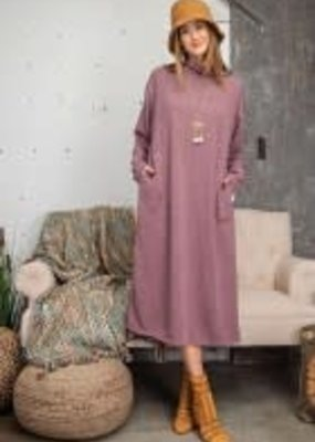 Essential Hacci Long Sleeve Maxi Dress w/ Mock Neck