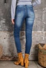 Animal Print Taped Side Washed Denim Fitted Jeans