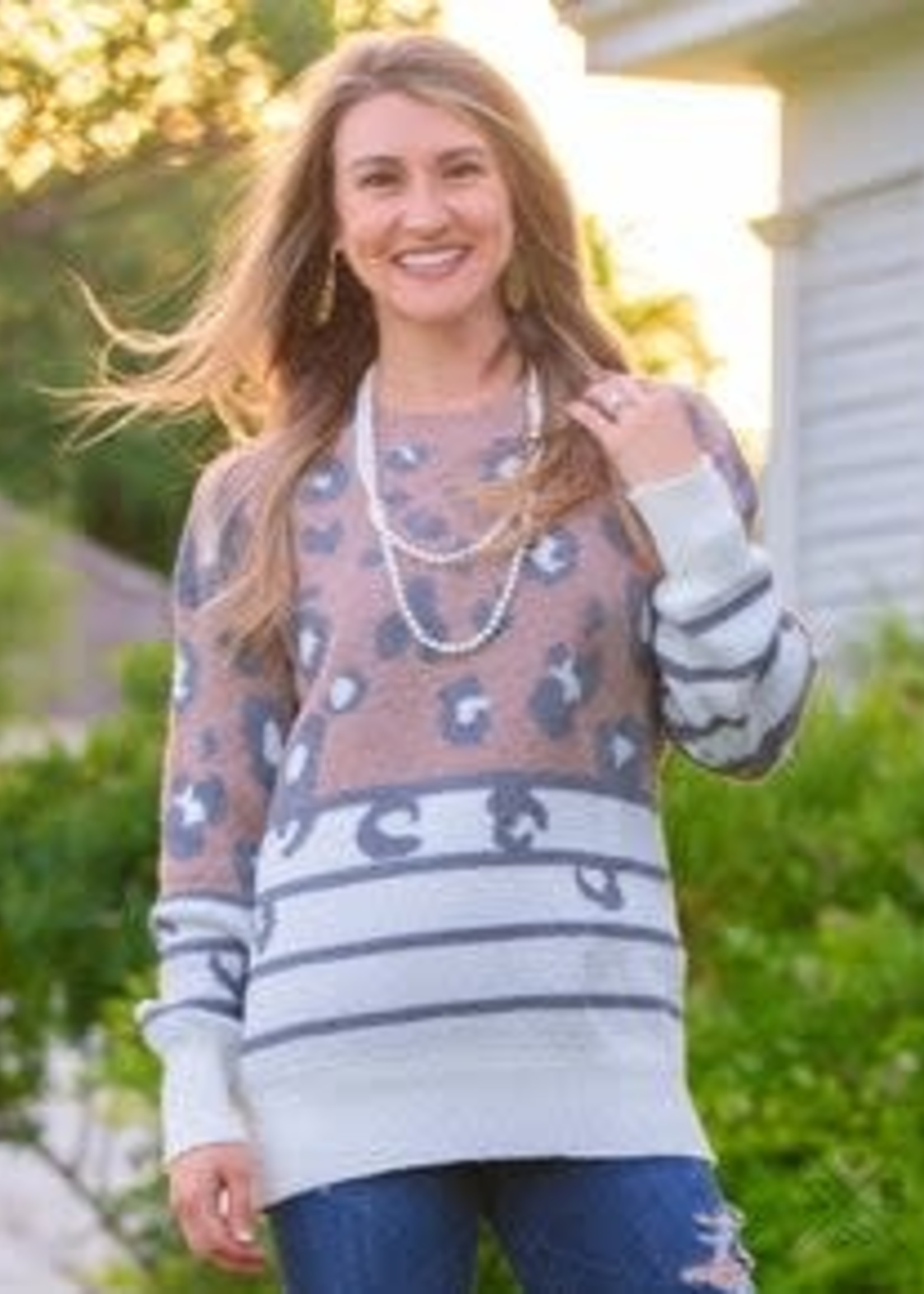 Animal Print and Stripes Super Soft Sweater