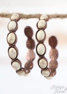 Small Oval Stone Hoop Earrings