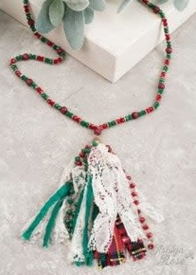Christmas Beaded Necklace w/ Tassel