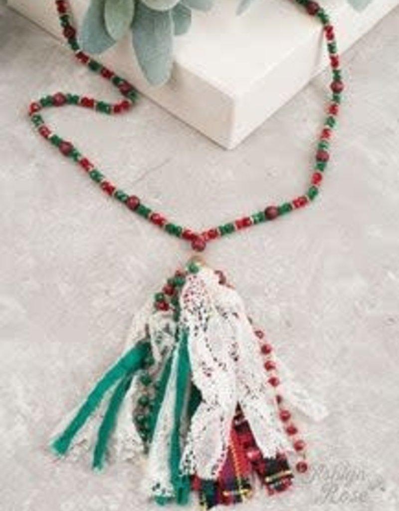 Christmas Beaded Necklace w/ Tassel