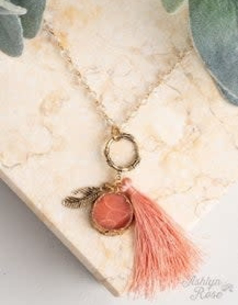 Beaded Necklace w/Tassel and Stone