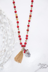Christmas Beaded Necklace w/ Tassel & Pendant