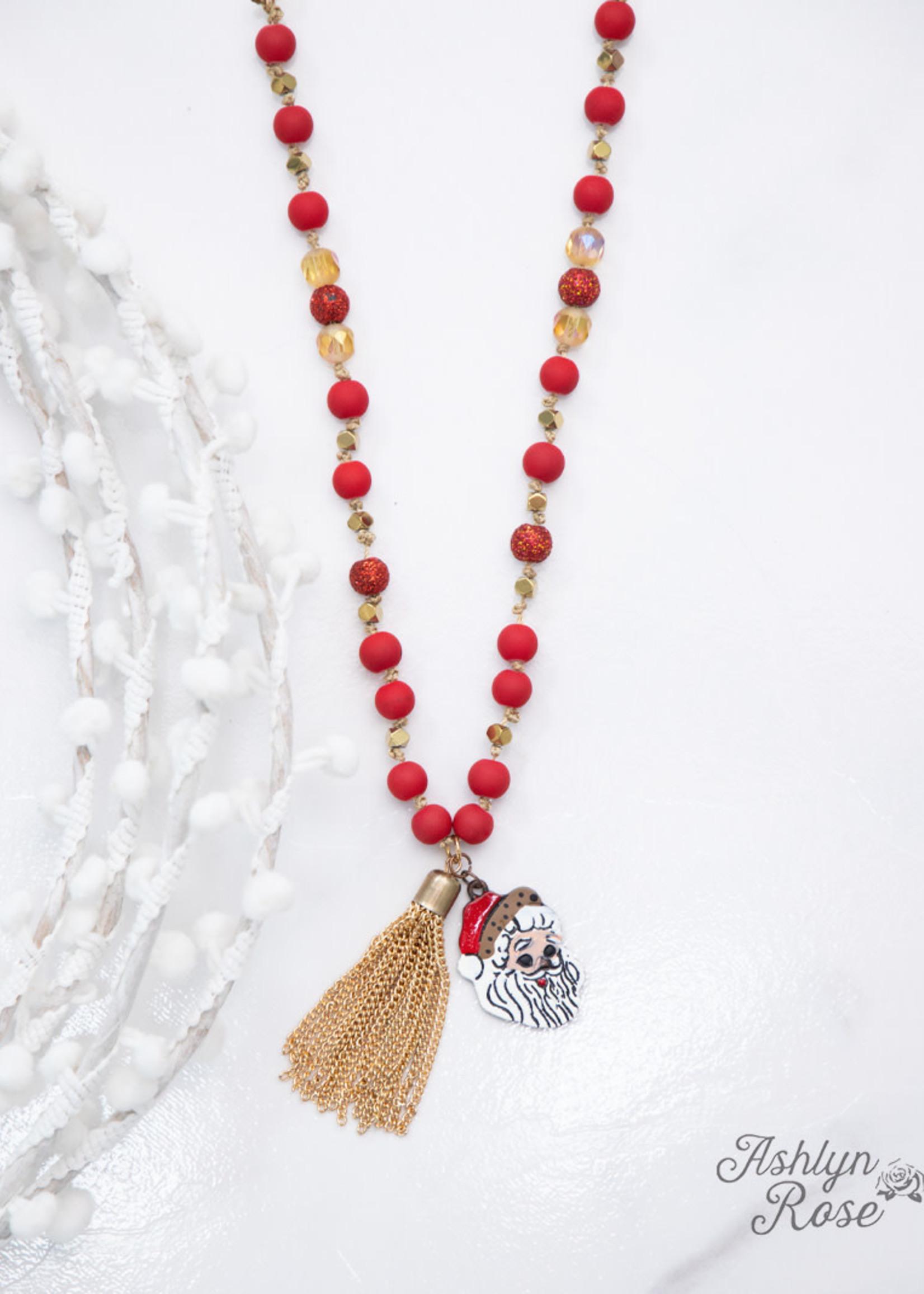 Christmas Beaded Necklace w/ Tassel & Pendant