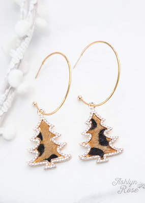 Merry Crystal Gold Hoop Earrings w/ Trees