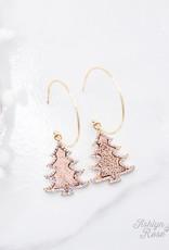 Merry Crystal Gold Hoop Earrings w/ Trees