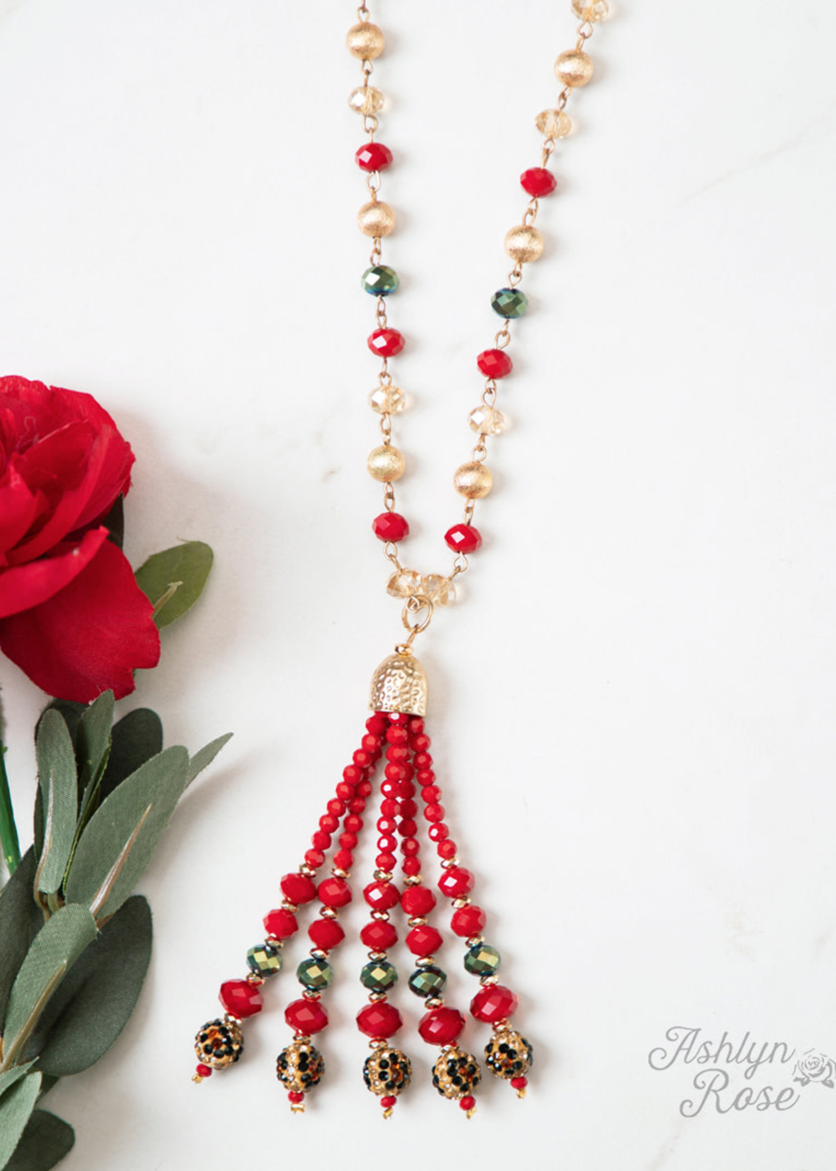 Get Yours Here Darling Christmas Beaded Tassel Necklace