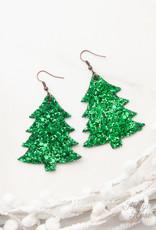 Happiest Christmas Tree Glitter Earrings