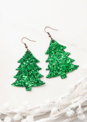 Happiest Christmas Tree Glitter Earrings