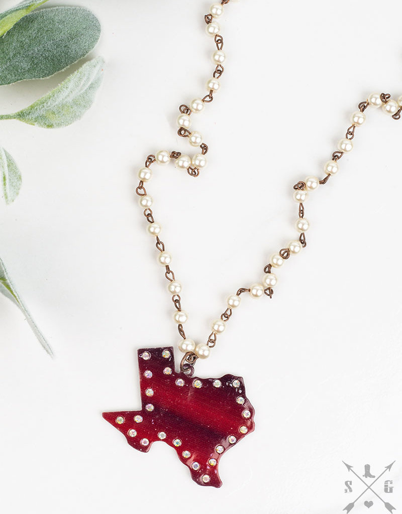 Texas Cut-Out Necklace w/ AB Crystals