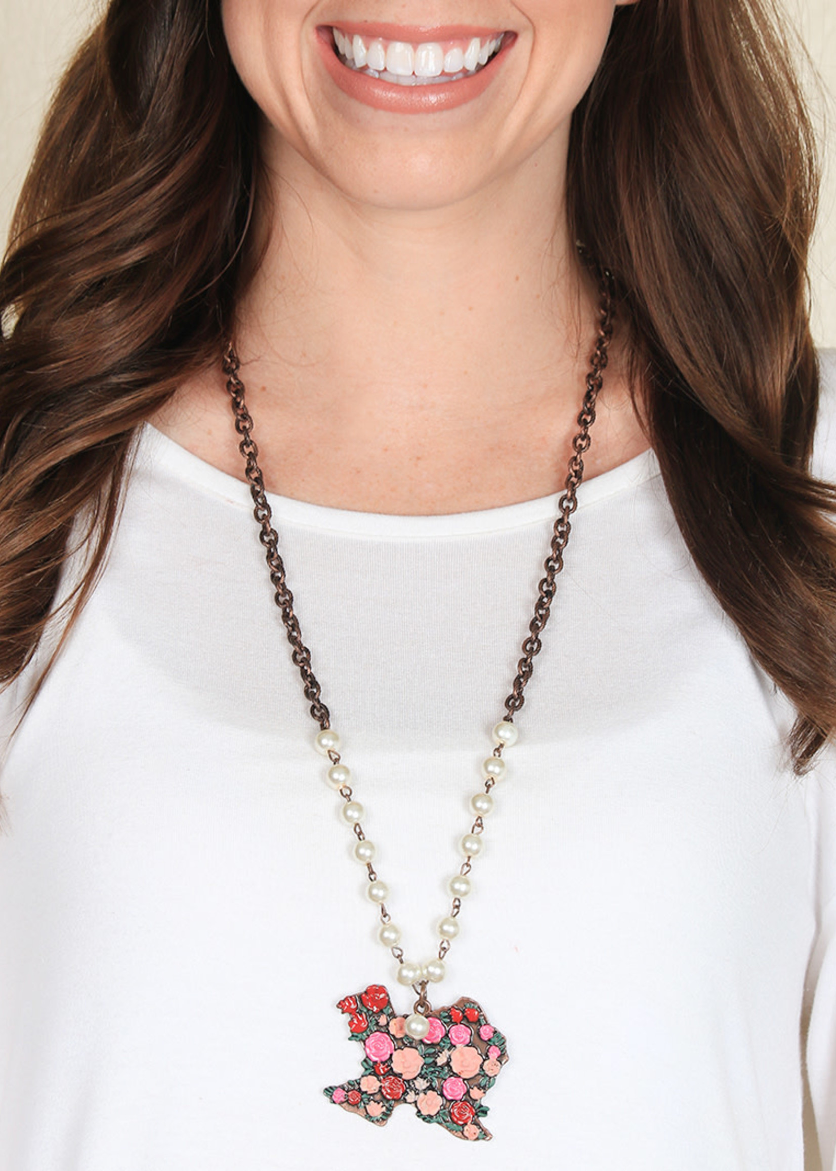Floral Texas Necklace w/ AB Crystals