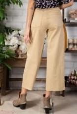 Button Front Stretch Crop Pants