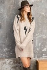 Lightning Patterned Destructed Sweater Dress