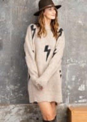 Lightning Patterned Destructed Sweater Dress