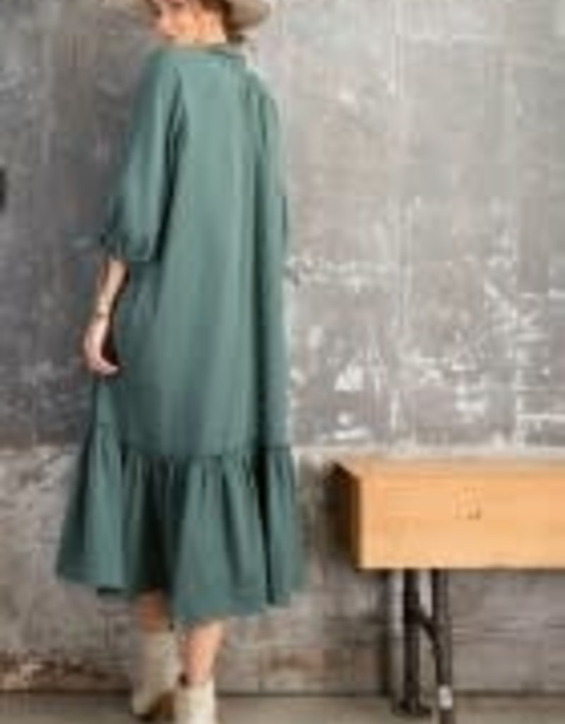 3/4 Sleeve Cotton Gauze Button-Down Dress