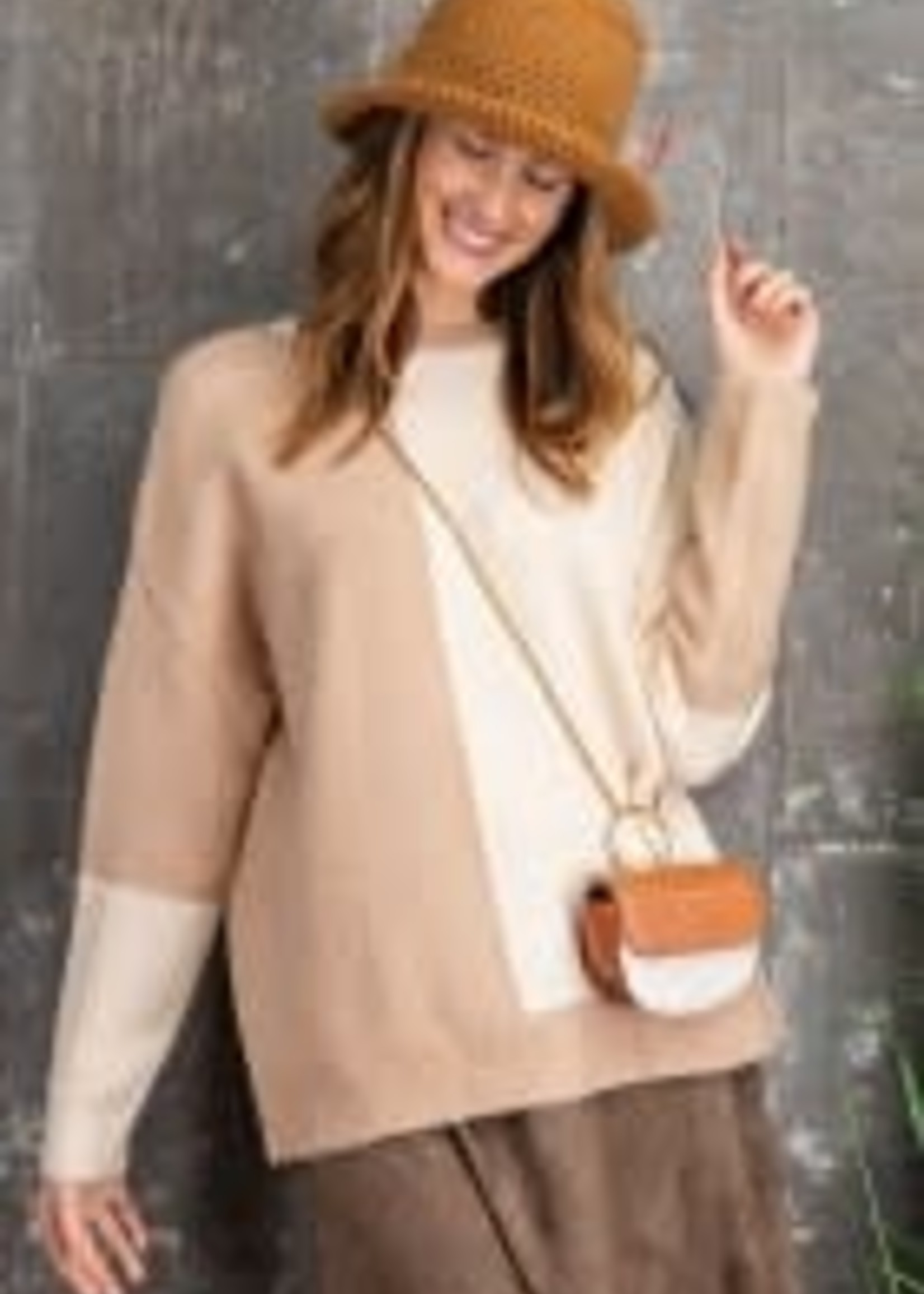 Long-Sleeve Color Block Knitted Sweater