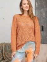 Long-Sleeve Textured Knitted Sweater