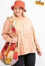 Long-Sleeve Star Printed Loose Fit Top w/ Pockets