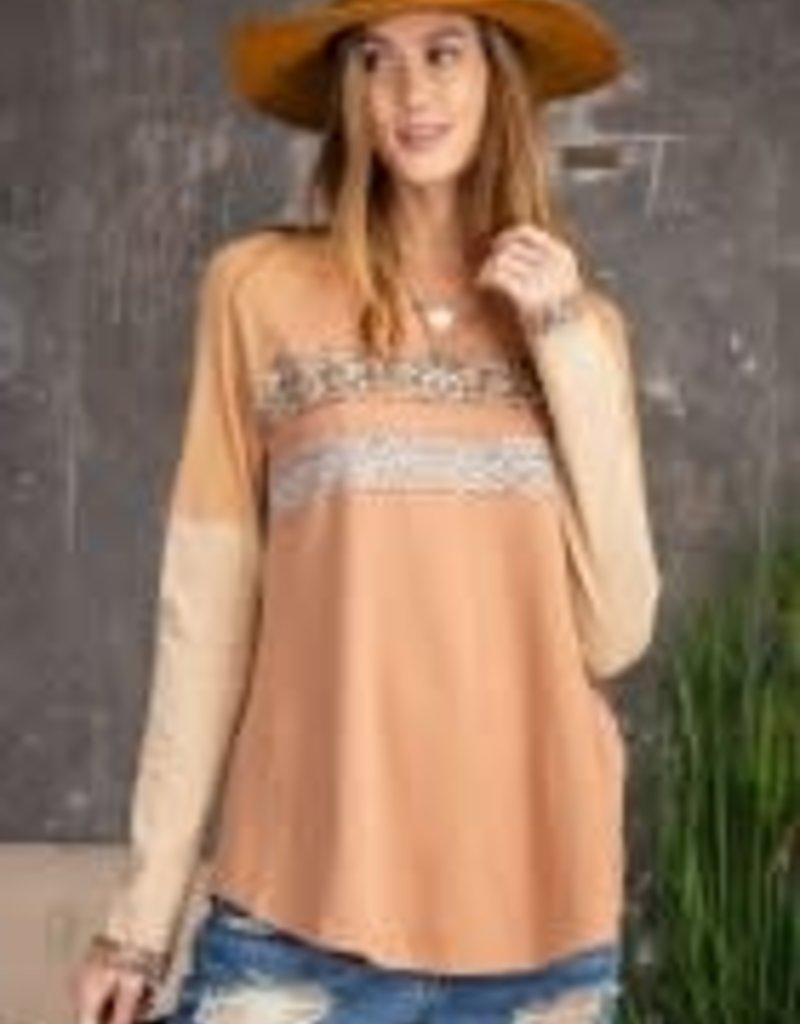 Long-Sleeve Knit Print Mix Distressed Hem Top