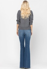 High-Rise Front & Back Mid-Seam Flare Jeans