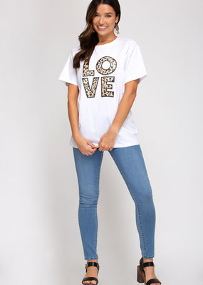 LOVE Leopard Print Tees-Short Sleeve